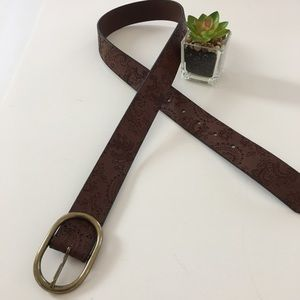 Eddie Bauer Leather Tooled Belt Western Size Small